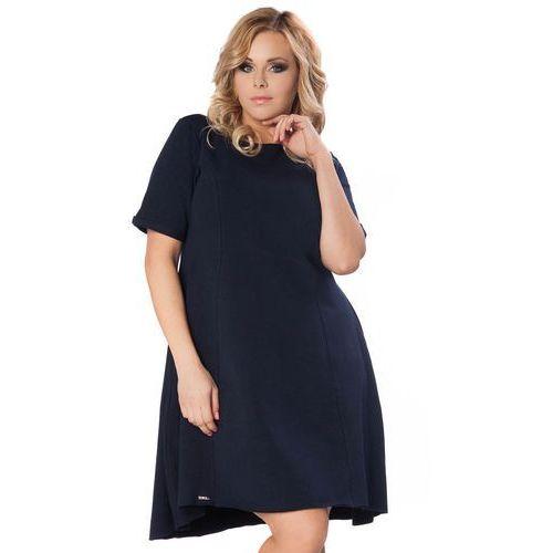 Granatowa Sukienka do Pracy z Wydłużonym Tyłem PLUS SIZE, w 2 rozmiarach