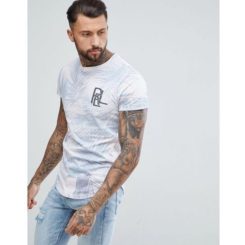 Religion Longline T-Shirt With Curved Hem In Pink Palm Print - Pink, 1 rozmiar