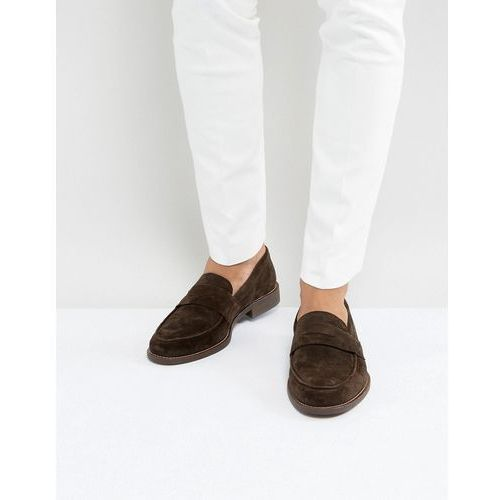 Dune Penny Loafers In Brown Suede - Brown