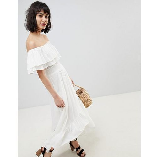 River island bardot off the shoulder maxi dress - white