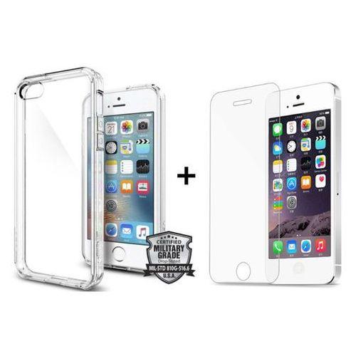 Sgp - spigen / perfect glass Zestaw | obudowa spigen sgp ultra hybrid crystal clear + szkło ochronne perfect glass dla modelu apple iphone 5 / 5s / se