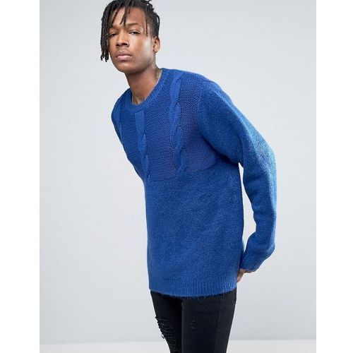Cheap monday  deprived knit half cable jumper - blue