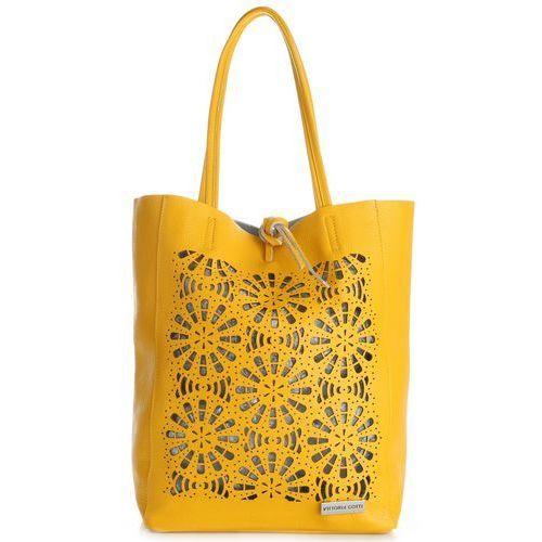 Vittoria Gotti Modne Torebki Skórzane SopperBag XL Ażurowana Żółta (kolory), kolor żółty