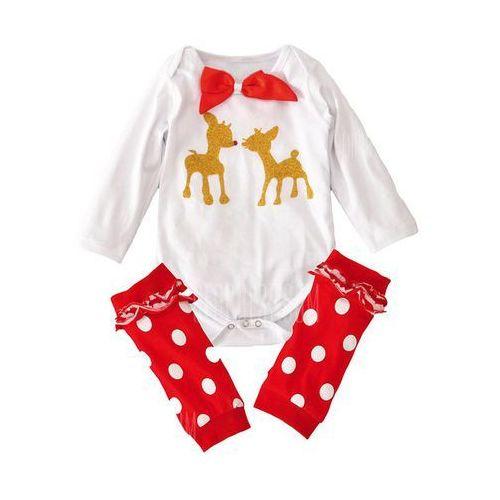Toddler Infant Newborn Christmas Long Sleeve Bodysuit Romper + Polka Dot Stockings