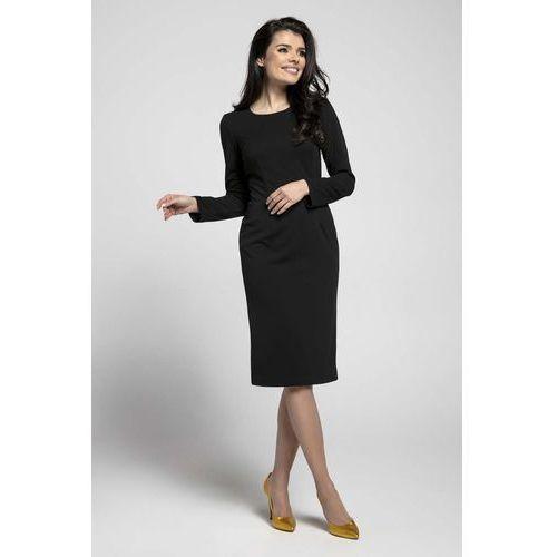 Czarna Klasyczna Dopasowana Sukienka za Kolano, w 6 rozmiarach