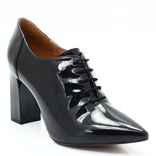 Caprice 9-23301-29 czarny - eleganckie sznurowane botki - czarny