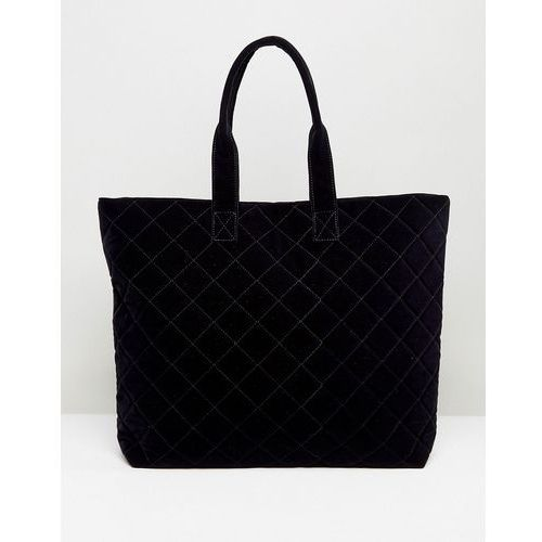 Pieces quilted shopper bag - navy