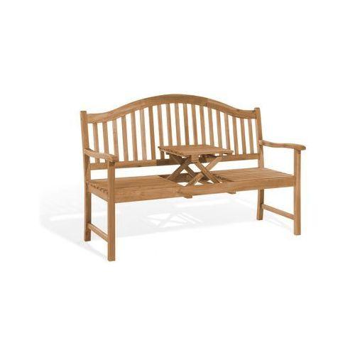 Beliani Ławka ogrodowa ciemne drewno z rozkładanym stolikiem - hilo (7081455783147)