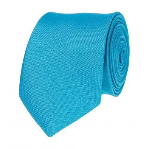 Krawat gładki jednokolorowy morski niebieski wąski śledź vip marki Viptextylia