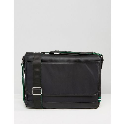 flapover bag with green trim in black - black, marki River island