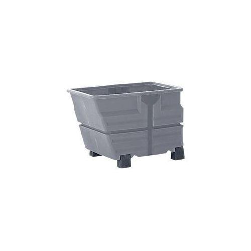 Pojemnik przechylny, pe, bez wieszaka trawersowego, na nogach, poj. 0,6 m³, szar marki Denios