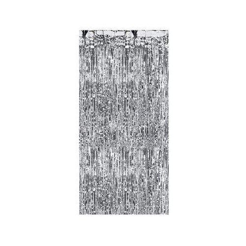 Party deco Kurtyna - zasłona na drzwi metaliczna srebrna - 2,4 m x 91 cm