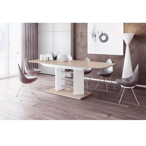 Stół rozkładany linosa 3 160cm cappuccino-biały wysoki połysk marki Hubertus design