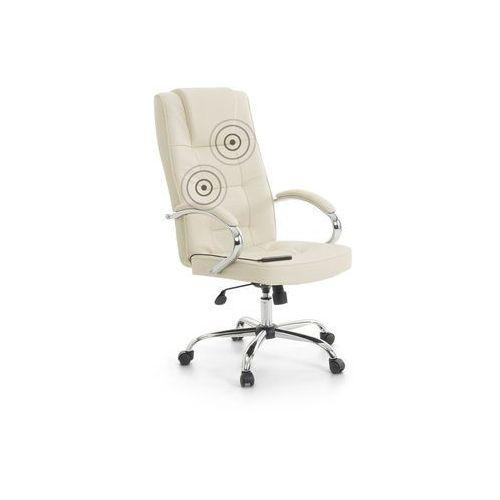 Beliani Fotel biurowy beżowy z masażem skórzany chromowany krzyżak diamond ii (7081452760653)