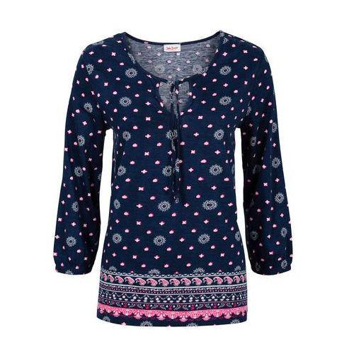 Bonprix Tunika shirtowa z nadrukiem, rękawy 3/4 ciemnoniebieski