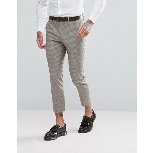 River Island Cropped Skinny Fit Suit Trousers In Brown Check - Brown