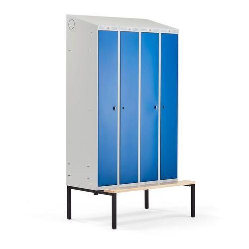 Szafa ubraniowa CLASSIC COMBO, z ławeczką, 4 drzwi, 2290x1200x550 mm, niebieski