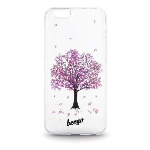 Telforceone Silikonowa nakładka etui beeyo blossom do iphone 5/5s transparentna + fioletowa