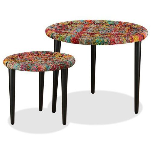 Vidaxl zestaw 2 stolików kawowych z detalami w stylu chindi, wielokolorowy (8718475530824)