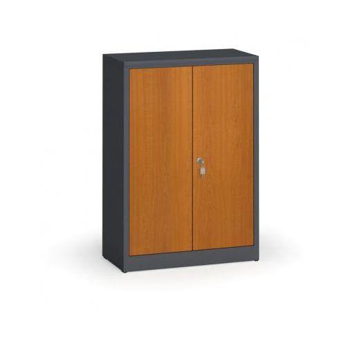Szafy spawane z laminowanymi drzwiami, 1150 x 800 x 400 mm, RAL 7016/czereśnia