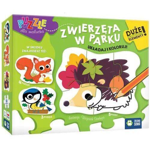 Zielona sowa Puzzle dla malucha zwierzęta w parku -.