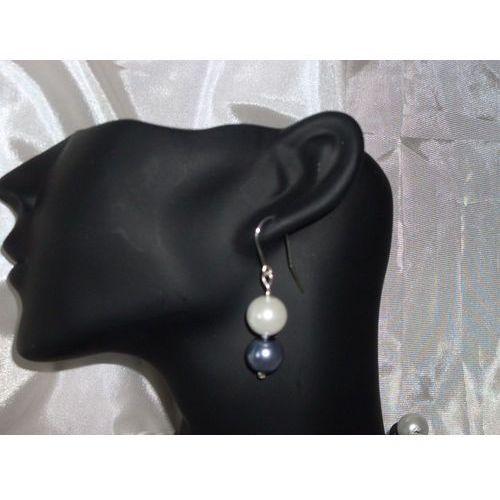 K-00006 Kolczyki z perełek szklanych białych i popielatych, kolor biały