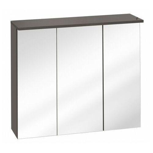 Wisząca szafka łazienkowa z lustrem - Marbella 7X Grafit 80 cm