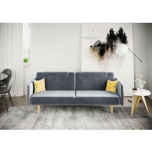 Sofa kanapa wersalka rovigo welur szara rozkładana z funkcją spania dostawa 0zł marki Big meble