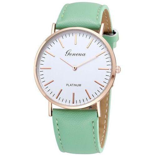 Zegarek biała tarcza miętowy złoty - mint rose gold case marki Geneva