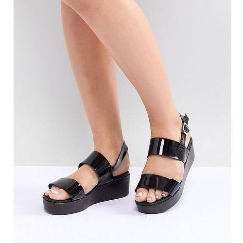 Park lane wide fit flatform sandals - black