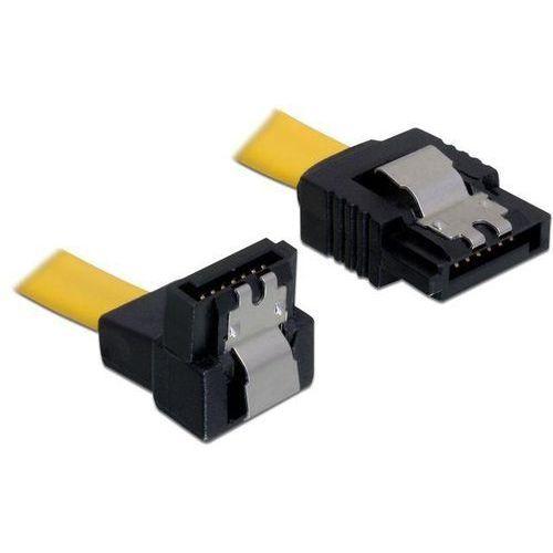 kabel sata 6gb/s 30cm kątowy dół/prosty (metalowe zatrzaski) żółty, marki Delock