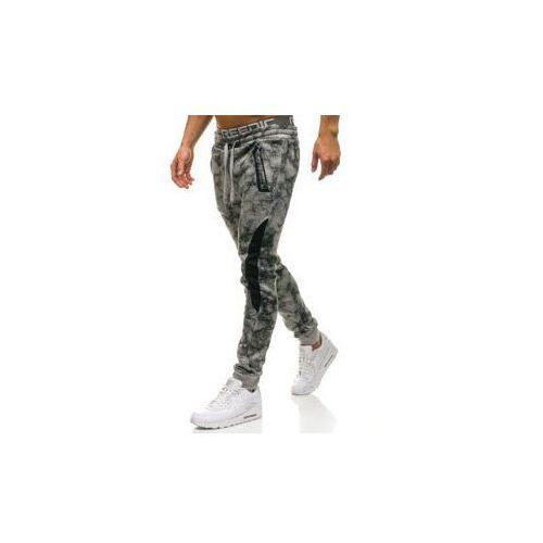 Spodnie męskie dresowe joggery szare Denley W1551, kolor szary