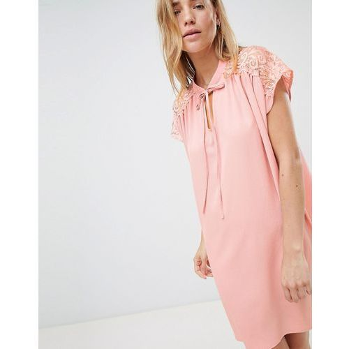 Qed london shift dress with lace insert - pink