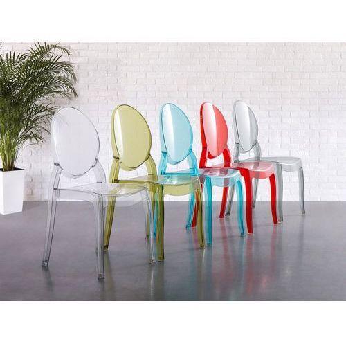 Zestaw do jadalni 4 krzesła przezroczysto-niebieskie merton marki Beliani