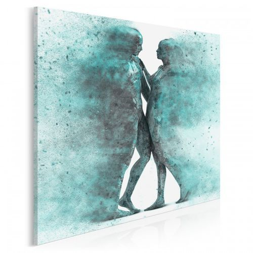 Metafizyka miłości w turkusach - nowoczesny obraz na płótnie - w kwadracie