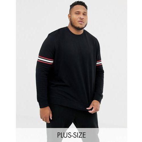 Burton Menswear Big & Tall sweatshirt with stripe detail in black - Black