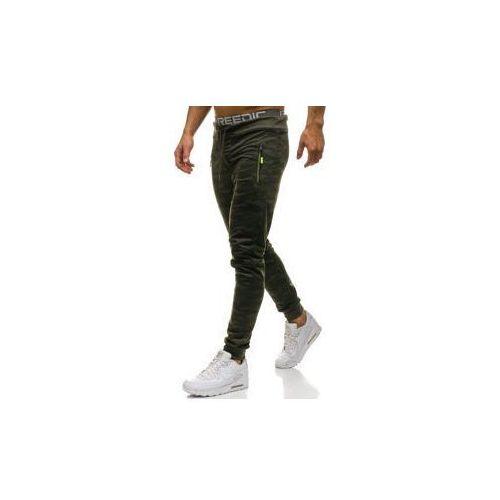 Spodnie męskie dresowe joggery moro-zielone Denley HL8510, kolor zielony