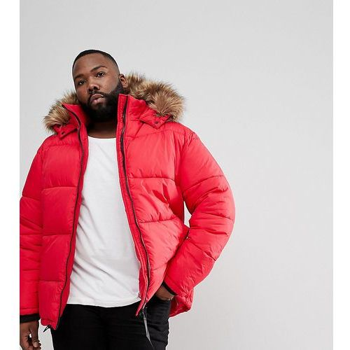 River Island Big and Tall Puffer Jacket With Faux Fur Hood In Red - Red
