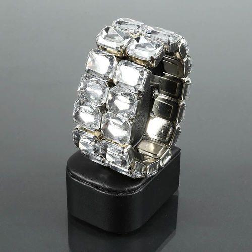 Szeroka bransoletka z dużych prostokątnych kryształów