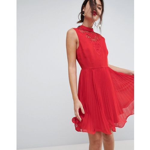 ASOS Sleeveless Lace Insert Pleated Mini Dress - Red, kolor czerwony