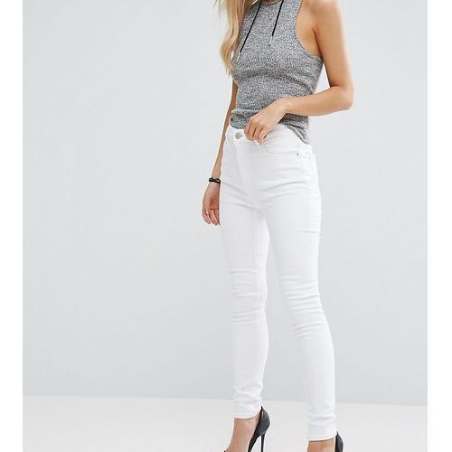 ASOS PETITE RIDLEY High Waist Skinny Jeans in Optic White - White