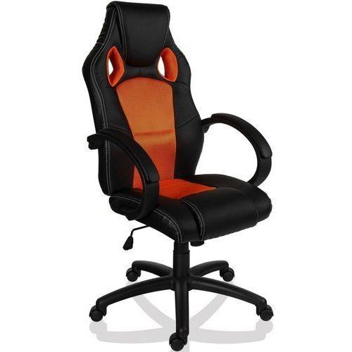 Sportowy czarno pomarańczowy fotel obrotowy biurowy - czarno - pomarańczowy wyprodukowany przez Makstor.pl