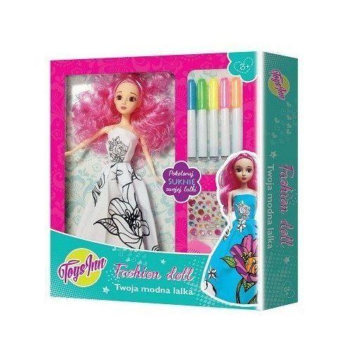 Lalka do kolorowania Różowe Włosy