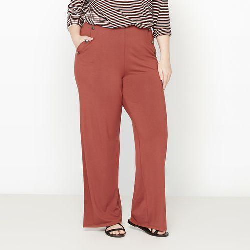 Szerokie dzianinowe spodnie o marynarskim kroju