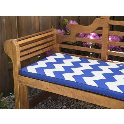 Beliani Ławka ogrodowa drewniana 180 cm poducha niebiesko-biała java marlboro (7105279797606)