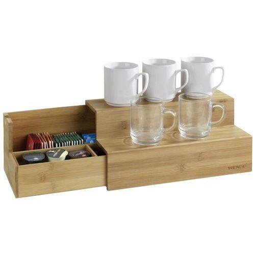 Organizer bambusowy na kawy i herbaty, dwupoziomowa szkatułka z przegródkami, WENKO (4008838249826)