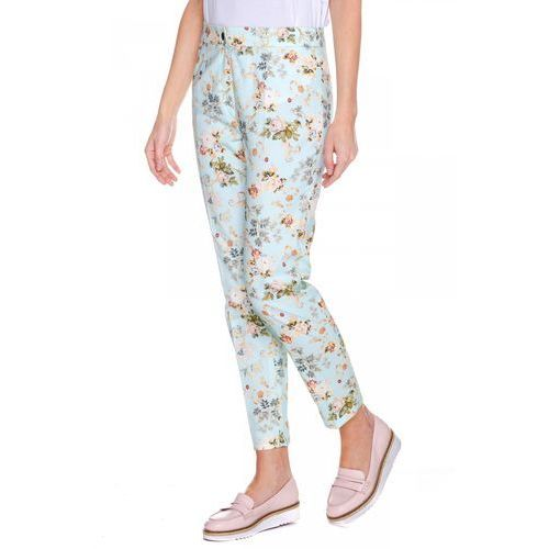 Niebieskie spodnie w kwiaty - Bialcon, kolor zielony