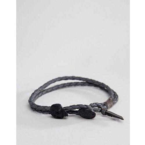 Icon Brand Grey Leather Plaited Bracelet With Skull Bead - Grey, kolor szary