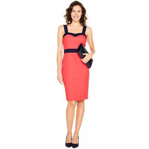 Czerwona sukienka z granatowym wykończeniem - Bialcon