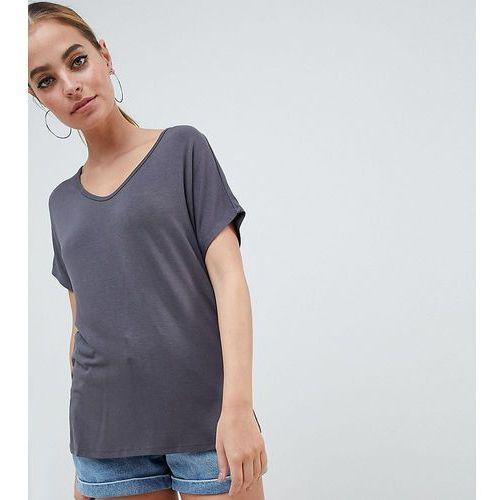 Asos design petite t-shirt with drapey batwing sleeve in grey - grey marki Asos petite